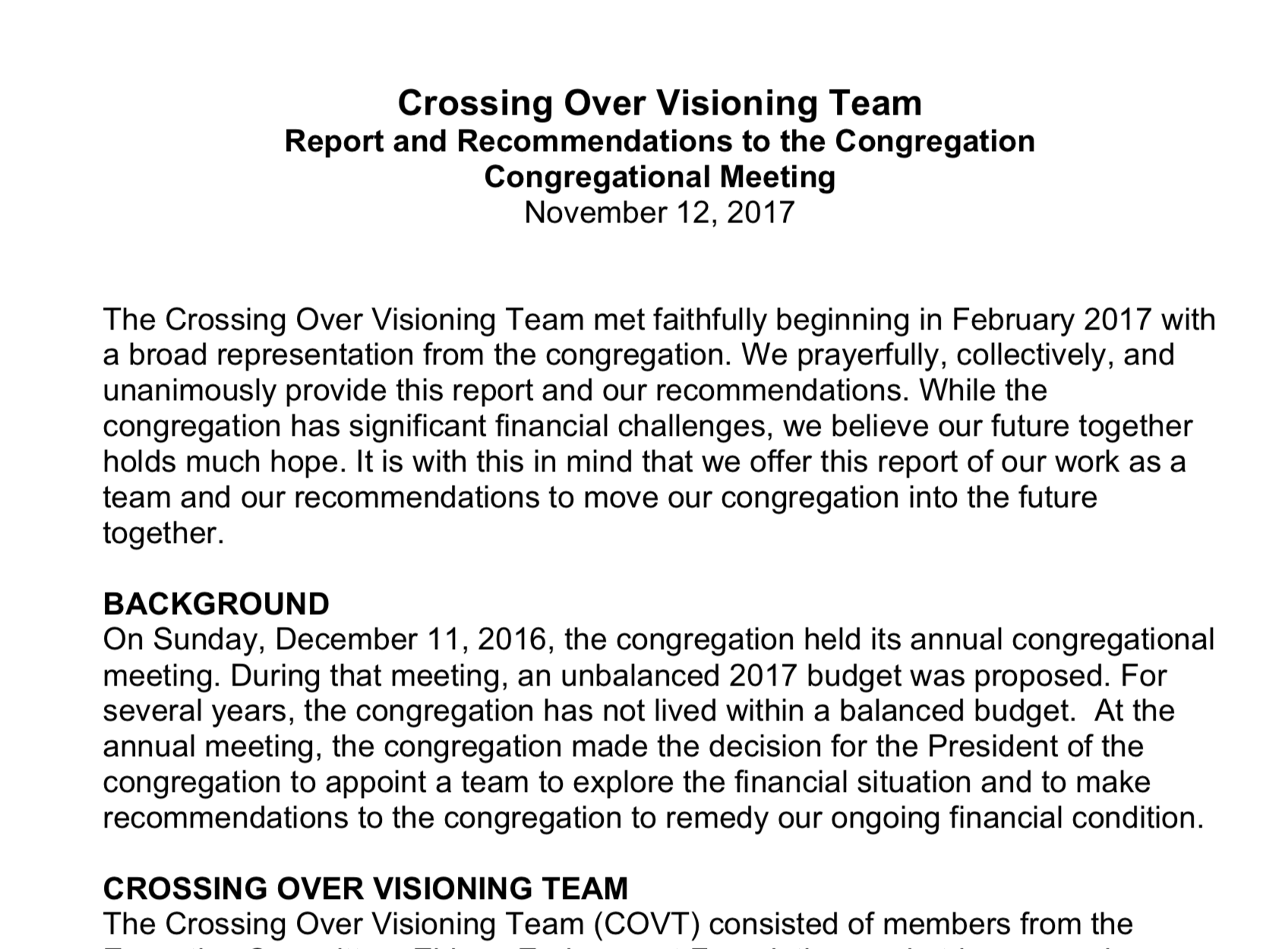 Team Recommendation: Crossing Over Vision Team Report & Recommendations